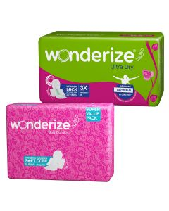 Wonderize Ultra Dry Anti leak XL with 3x Absorption (30 Pads) + Soft Comfort Regular Size Sanitary Napkins (20 Pads) - Combo Pack