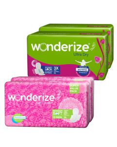 Wonderize Ultra Dry Anti leak XL with 3x Absorption (60 Pads) + Soft Comfort XL Sanitary Napkins (30 Pads) - Combo Pack