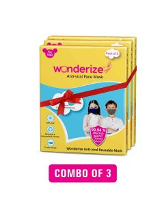 Wonderize Kids Face Mask - 6 Masks - Reusable Double Layer Breathable Fabric For Superior Protection - Soft Cotton Masks For Toddlers/Boys/Girls
